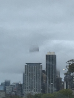 Great day to see Macbeth--foggy in the city.